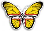 Beautiful Butterfly With Dorset West Country Flag Vinyl Car Sticker 130x90mm